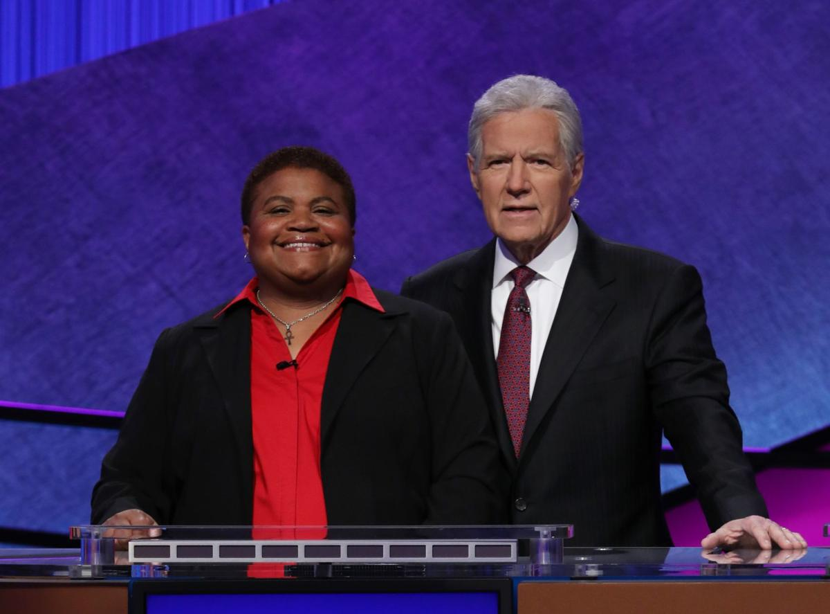 Alex Trebek and teacher Tara Baxter (Sunnyside)