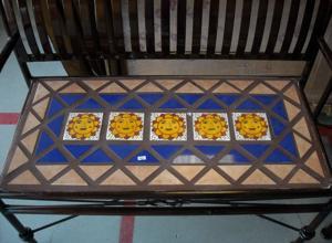 lawn art wrought iron tile bench.JPG