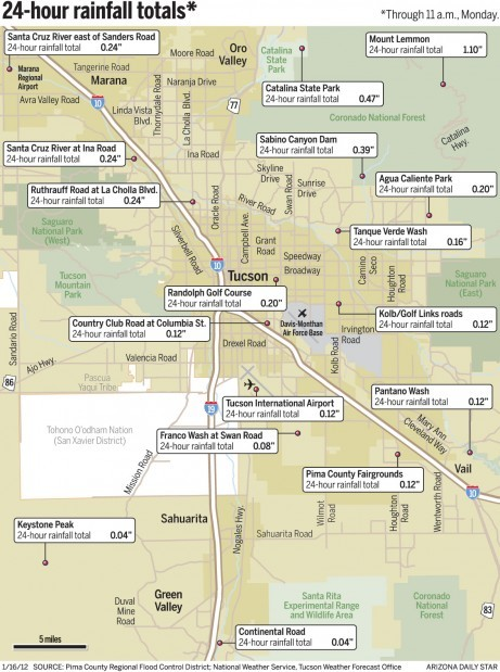 Map: Tucson rainfall totals since yesterday | Local news | tucson.com
