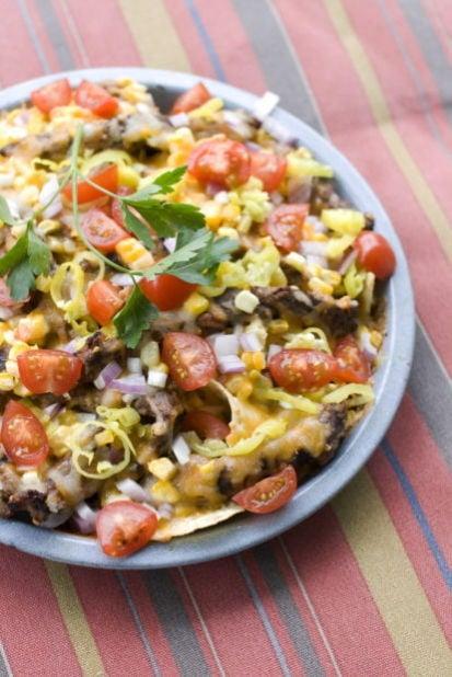 Corn and steak nachos