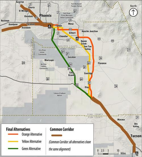Map Of Arizona Freeway Shootings.Tell Adot What You Think About Tucson Phoenix High Speed Rail