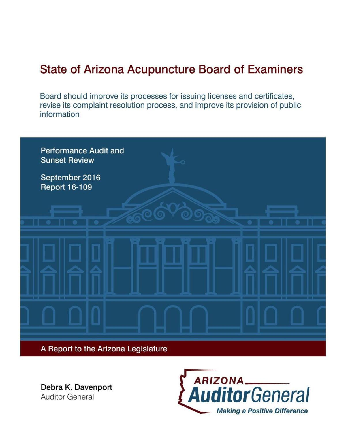 Audit Report: State of Arizona Acupuncture Board of Examiners