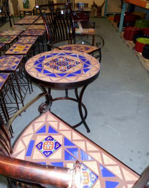 lawn art wrought iron tile table and tile curved bench .JPG