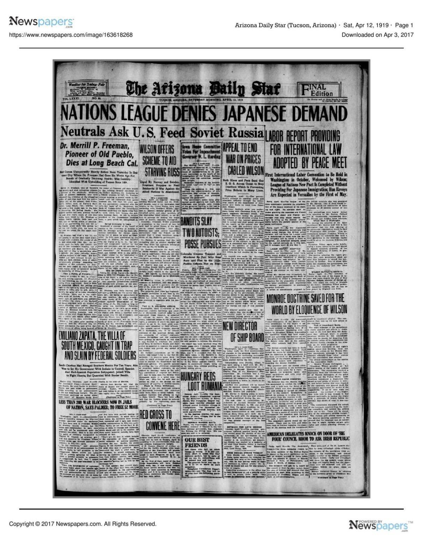 Arizona Daily Star front page April 12, 1919 pdf | | tucson com