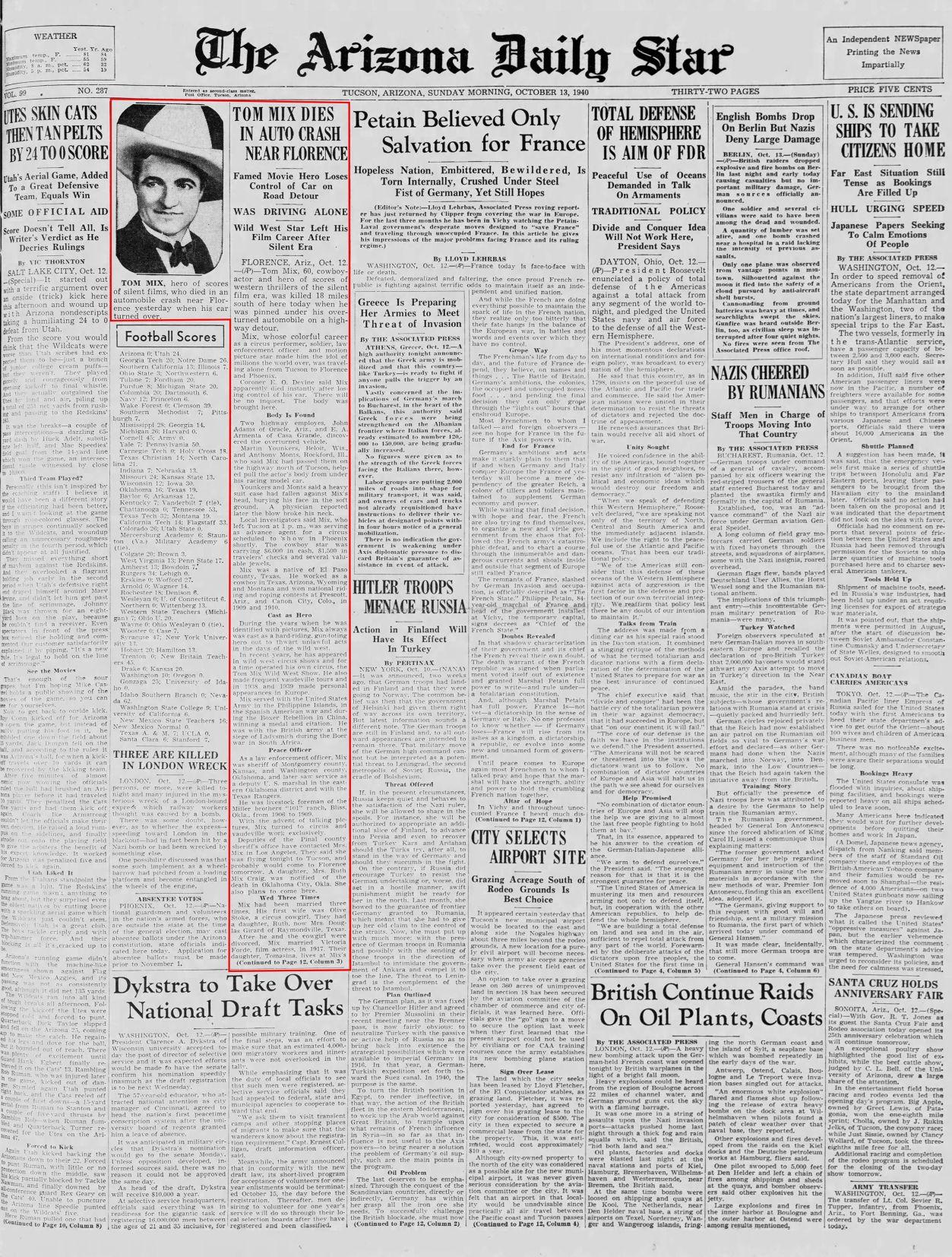 Oct. 13, 1940: Tom Mix dies near Florence, Arizona