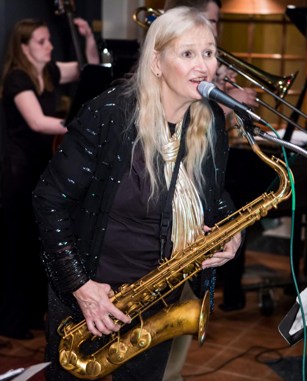 Carla Brownlee and her sax keep the blues goin