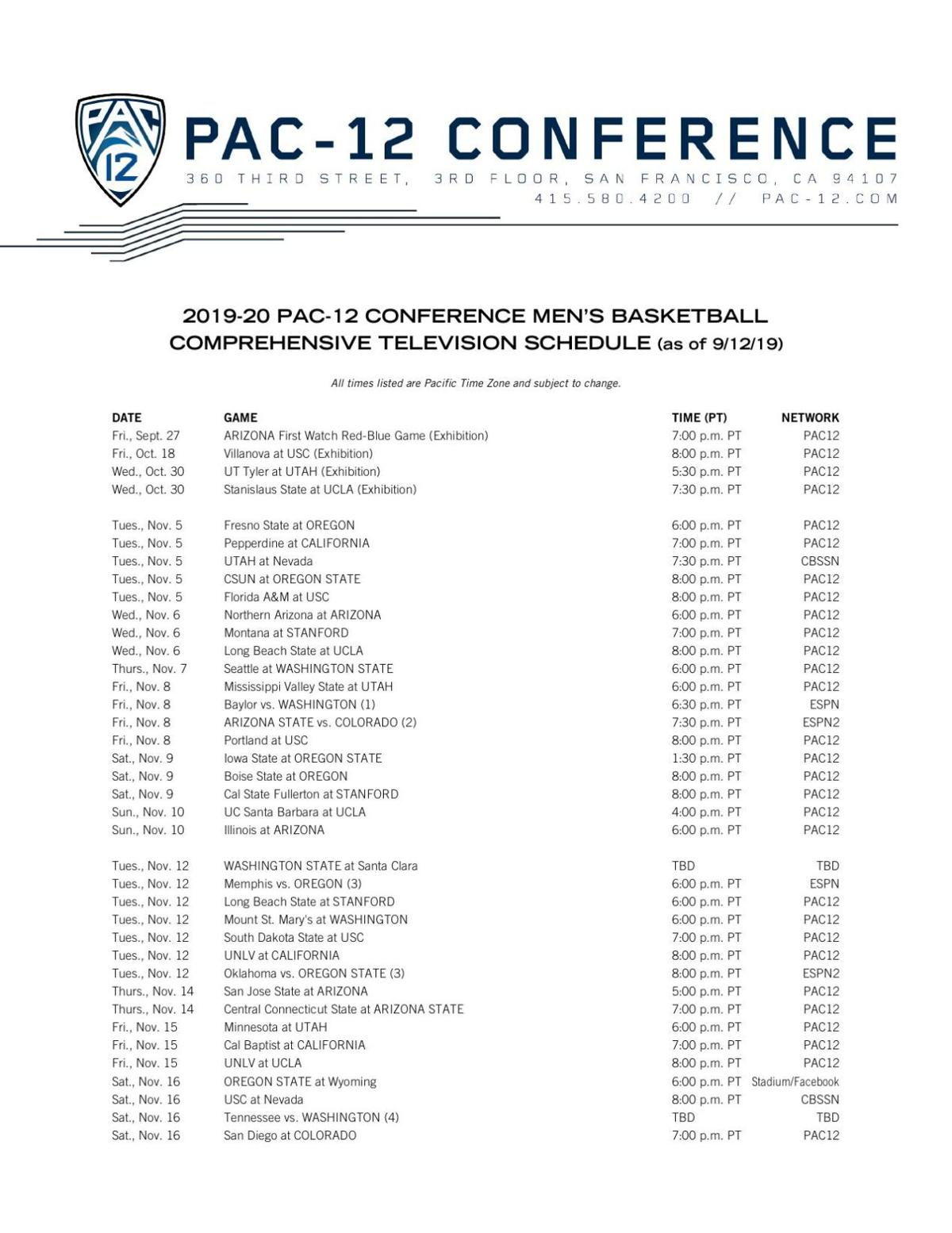Complete 2019-20 Pac-12 basketball schedule