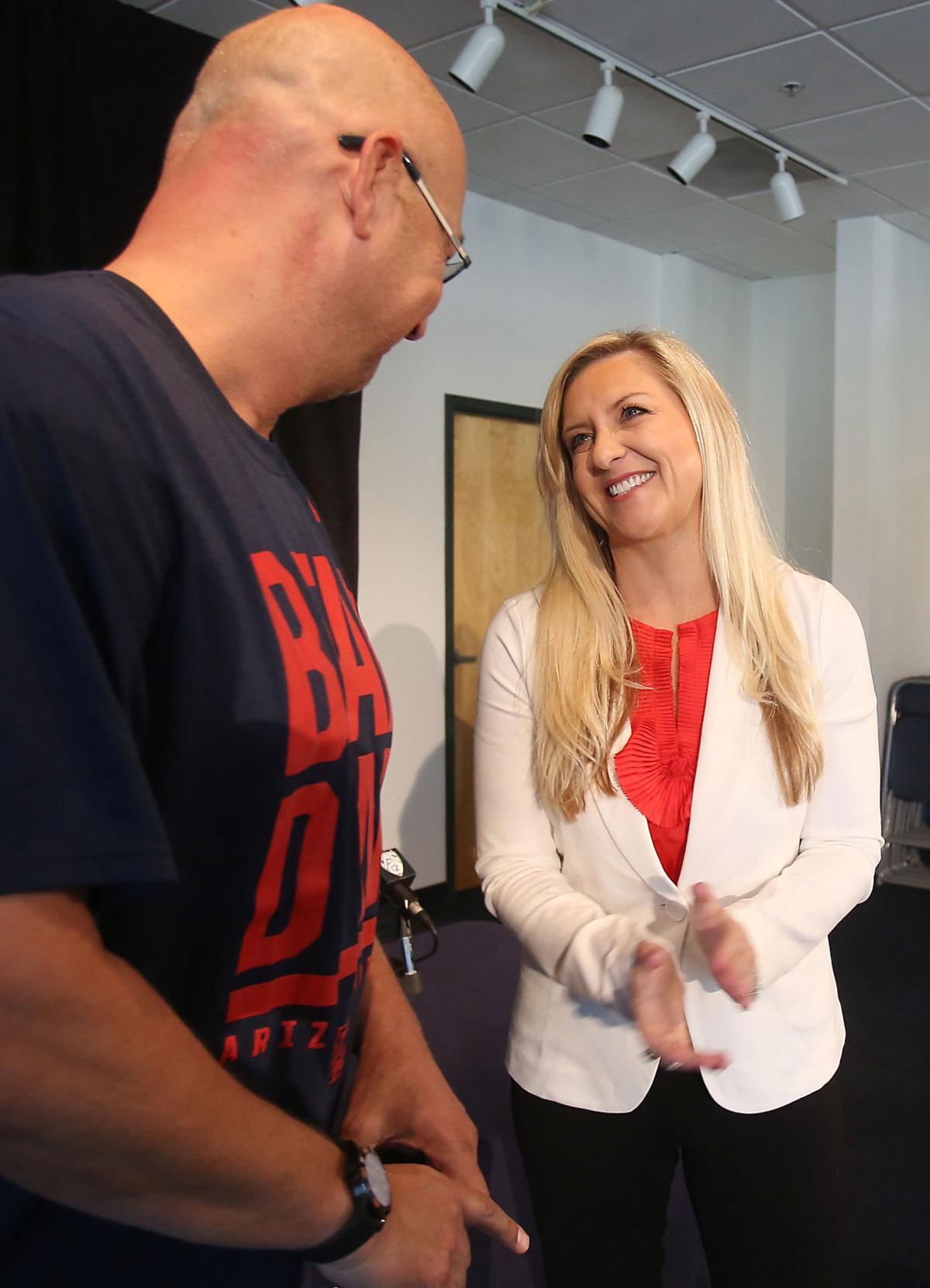 2cdc03d0aa817 Erika Barnes, interim athletic director, talks with Terry Francona, former  Wildcat and current manager of the Cleveland Indians. Mamta Popat / Arizona  ...