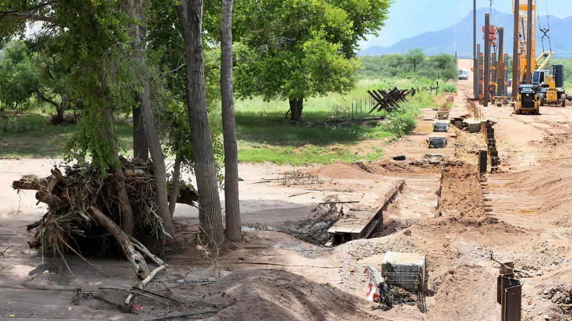 Monsoon storm floods border wall project across Arizona's San Pedro River