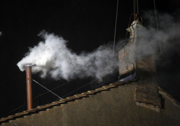 White smoke on the roof of the Sistine Chape