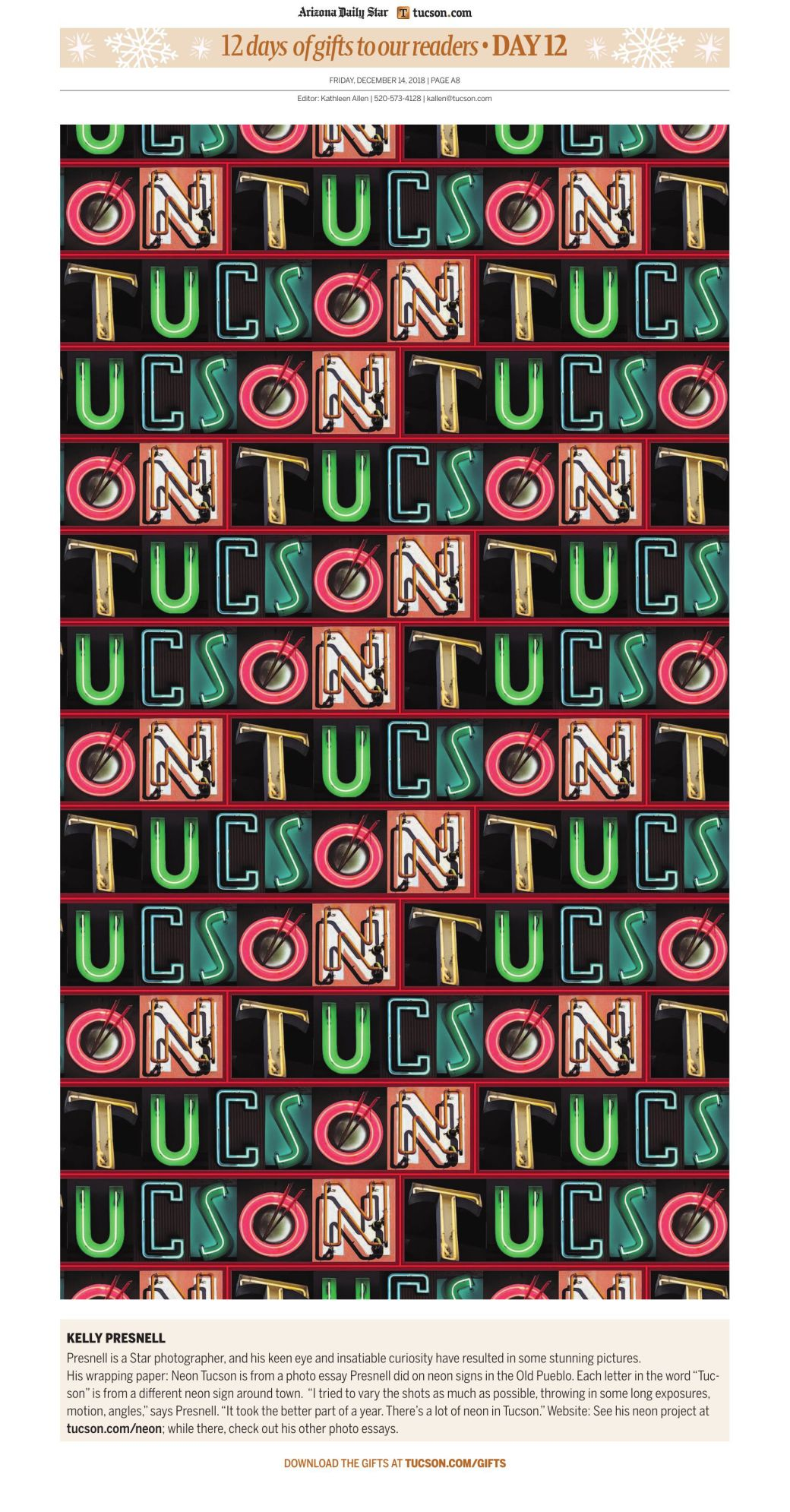 download free tucson themed holiday wrapping paper from local