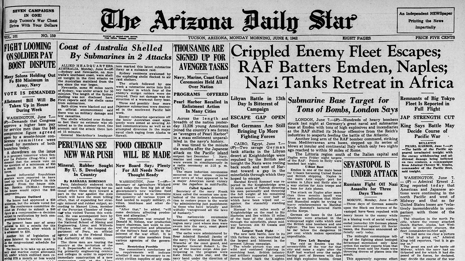 Arizona Daily Star front page June 8, 1942 | | tucson com