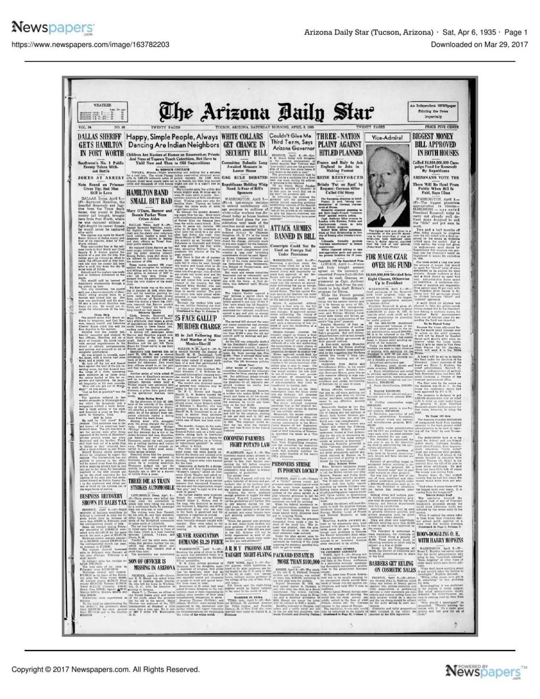 Arizona Daily Star front page April 6, 1935 pdf | | tucson com