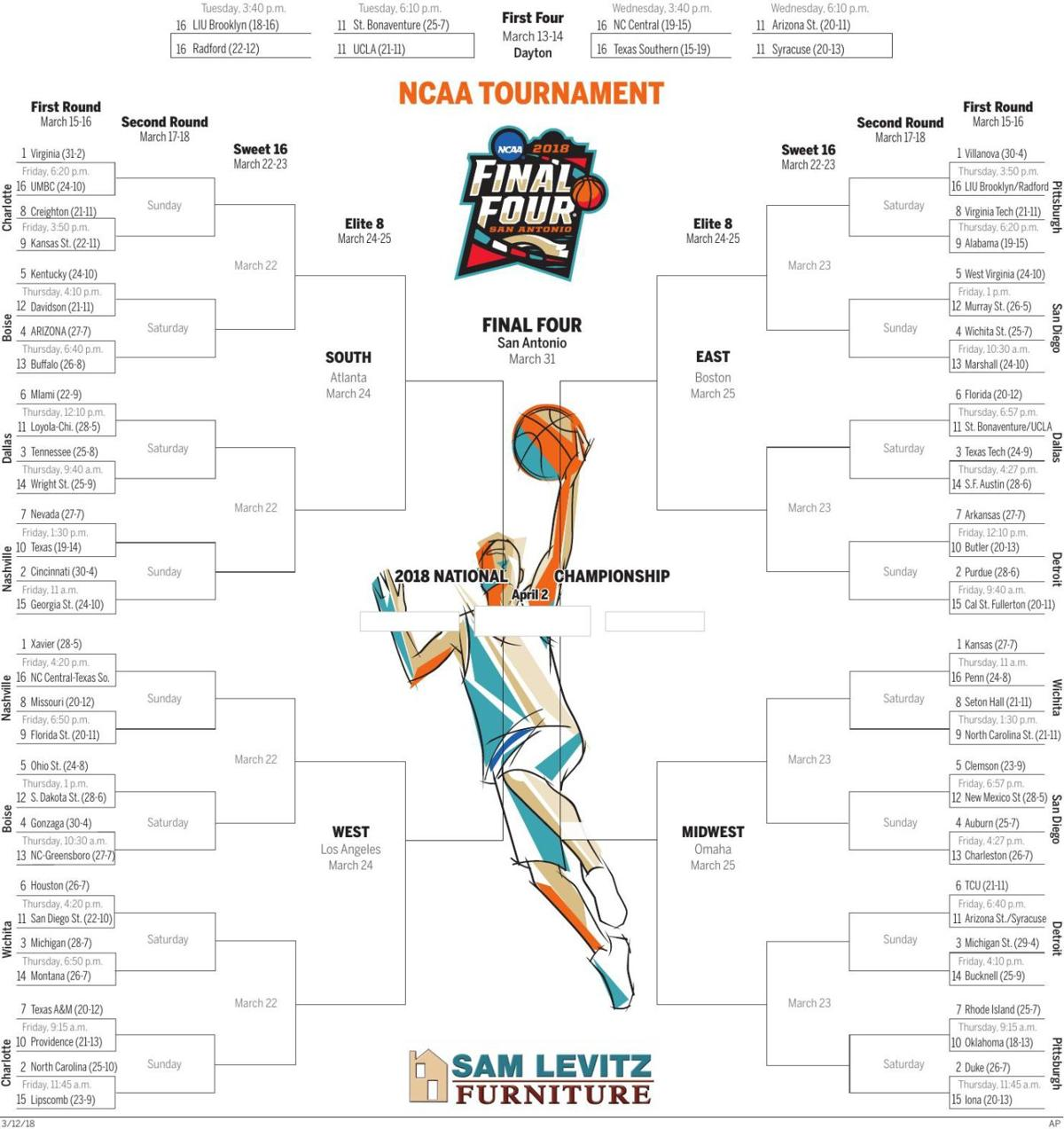 It is an image of Handy Printable Ncaa Bracket With Records
