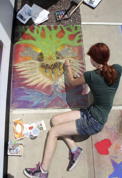 Chalk art festival at Park Place mall has concrete canvas