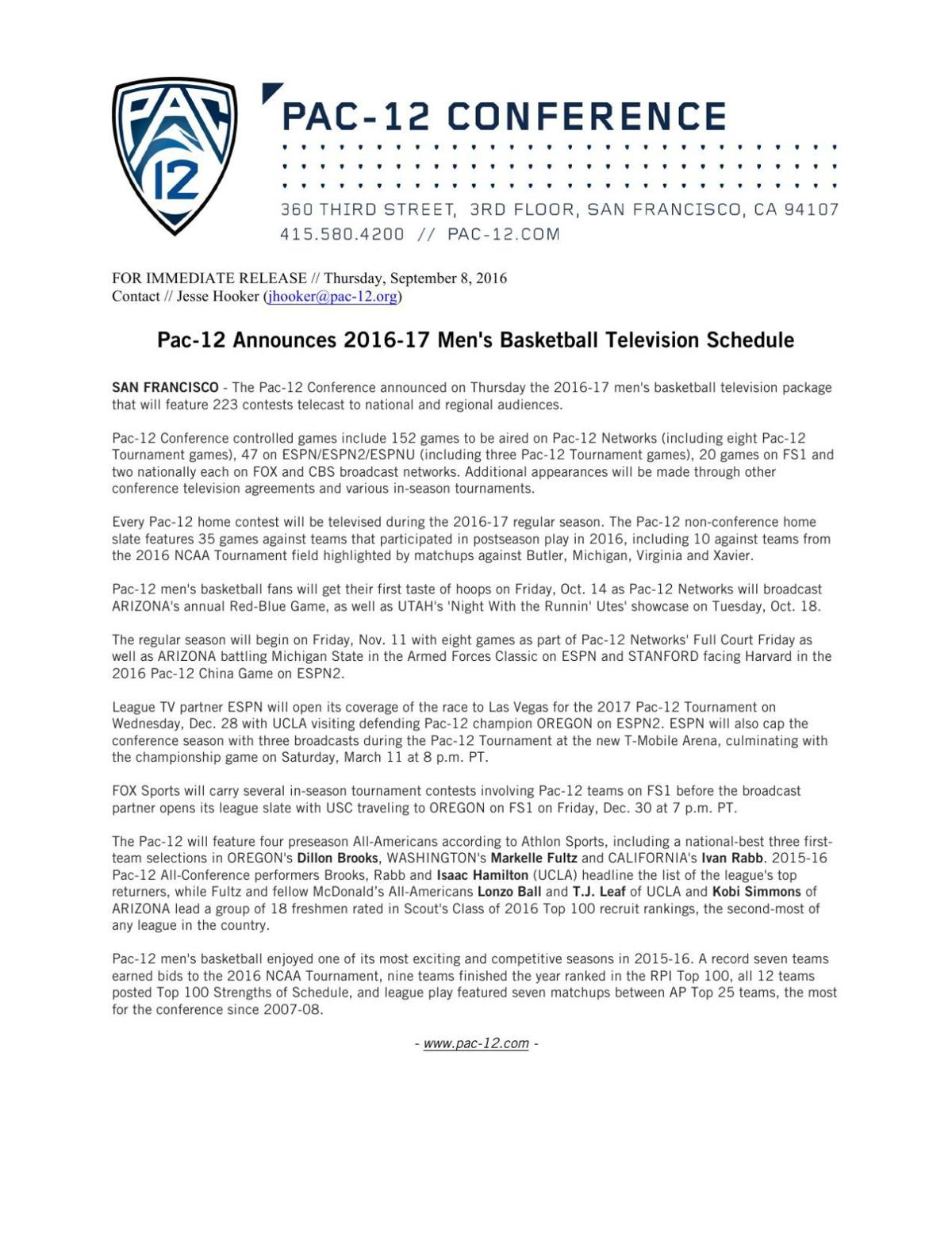 Full Pac 12 Basketball Schedule For 2016 17 Tucson Com
