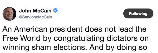 Sen. John McCain castigates Trump over congratulating Putin on re-election