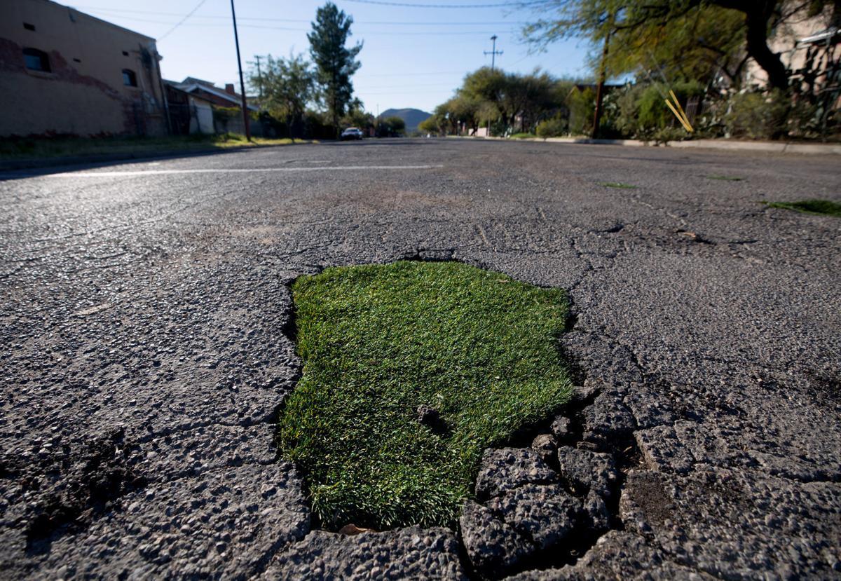 Grassy potholes