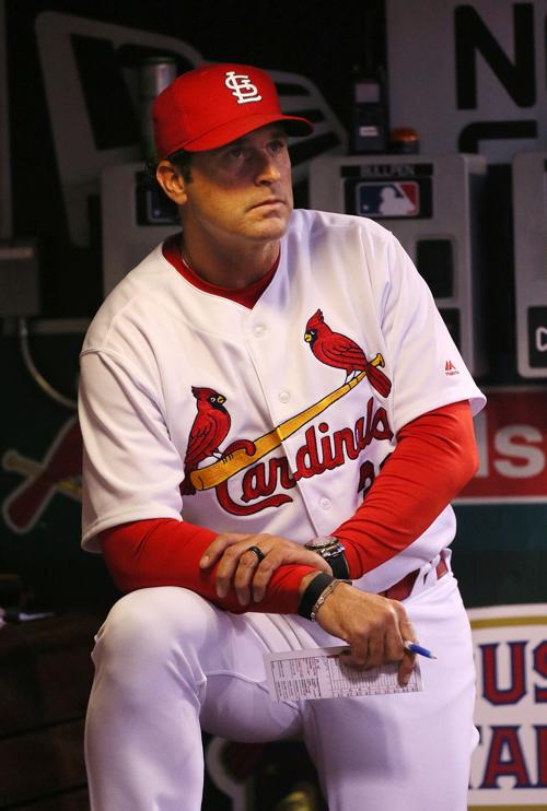 St. Louis Cardinals manager Mike Matheny in the dugout during action against the Chicago White Sox on Tuesday, May 1, 2018, at Busch Stadium in St. Louis, Mo.