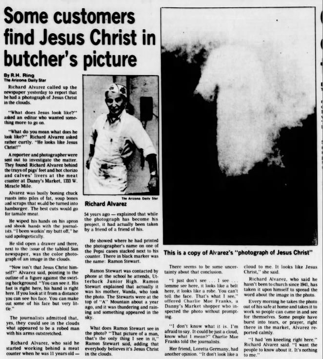 May 2, 1985: Jesus in clouds over 'A' Mountain