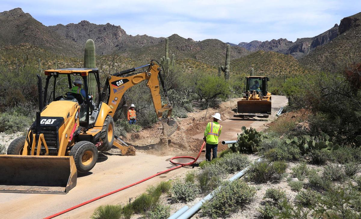 Electric shuttle work at Sabino Canyon