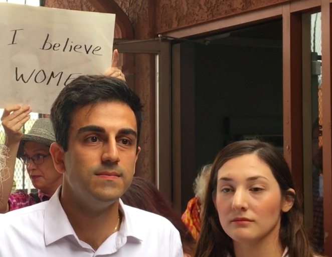 Congressional District 2 candidate Yahya Yuksel answers questions from reporters