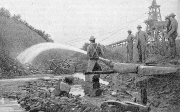High-pressure water used in the mining process