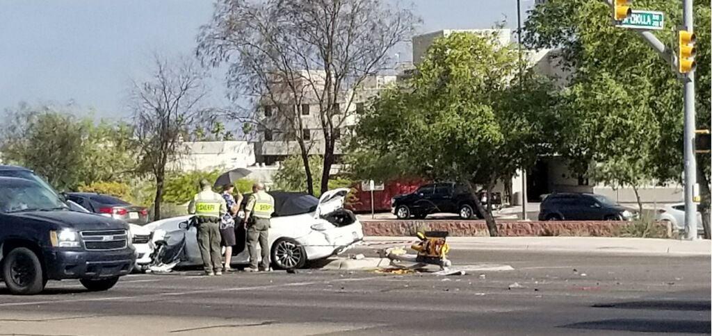 County sheriff's vehicle involved in three car crash in northwest Tucson