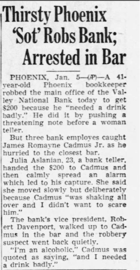 Bank robber arrested in bar