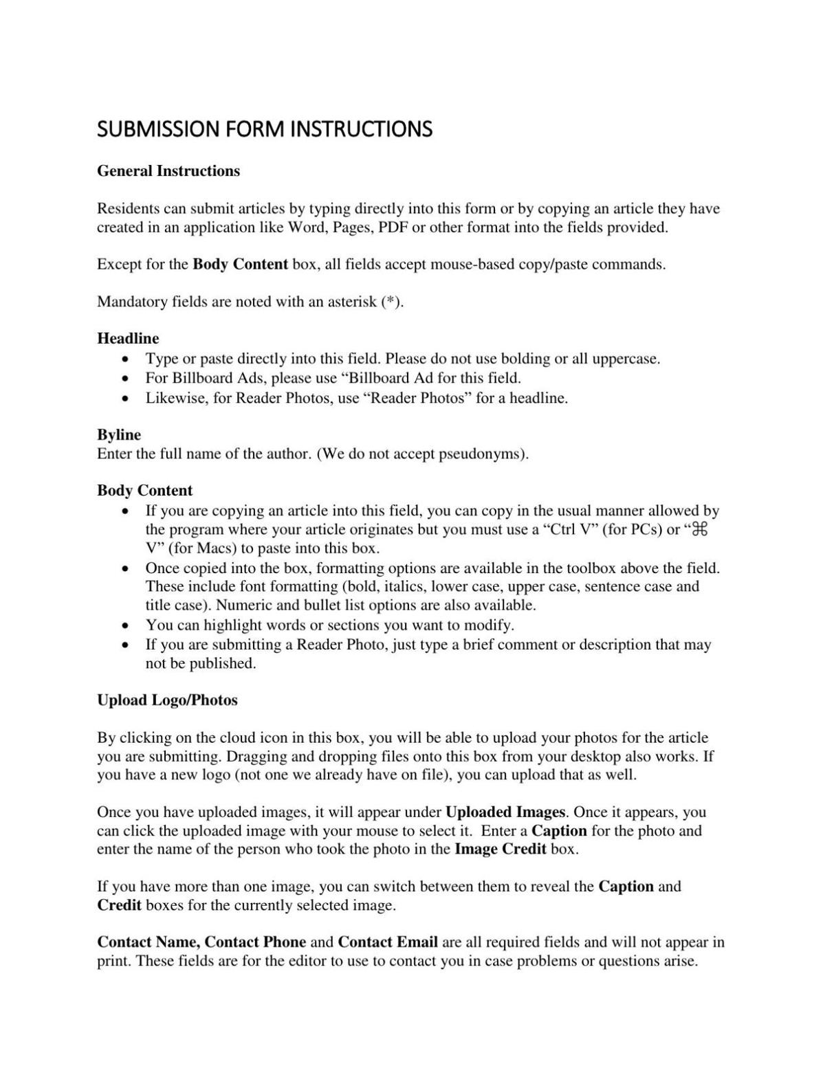 Saddlebag Notes Submission Form Instructions