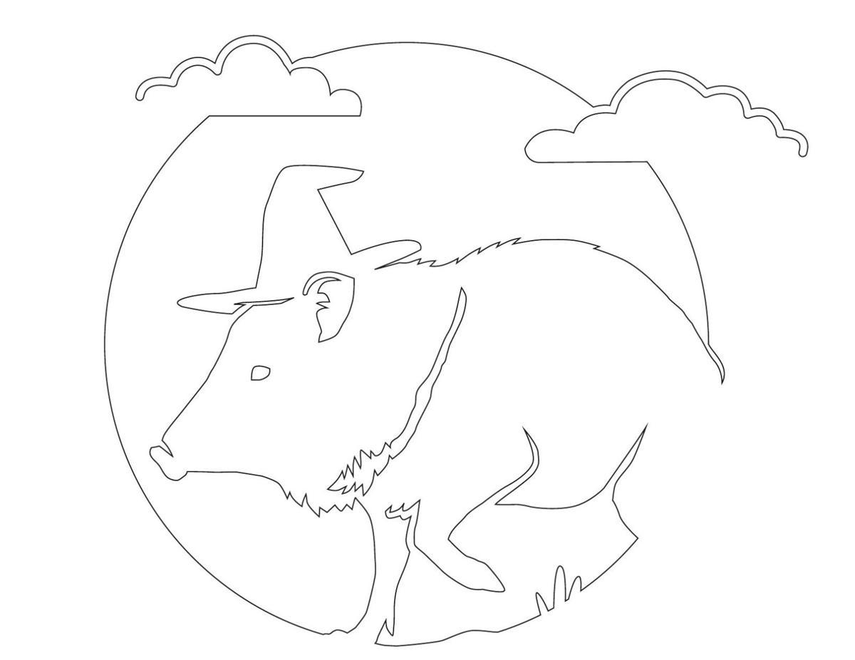 Stencil: Javelina witch