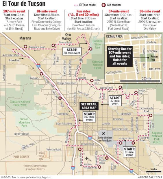 2013 El Tour de Tucson map