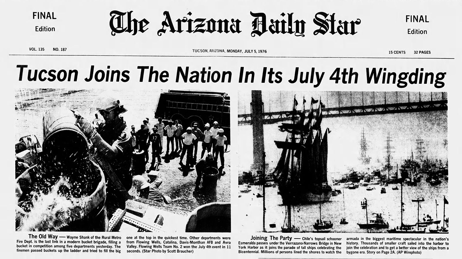 Arizona Daily Star front page July 5, 1976     tucson com