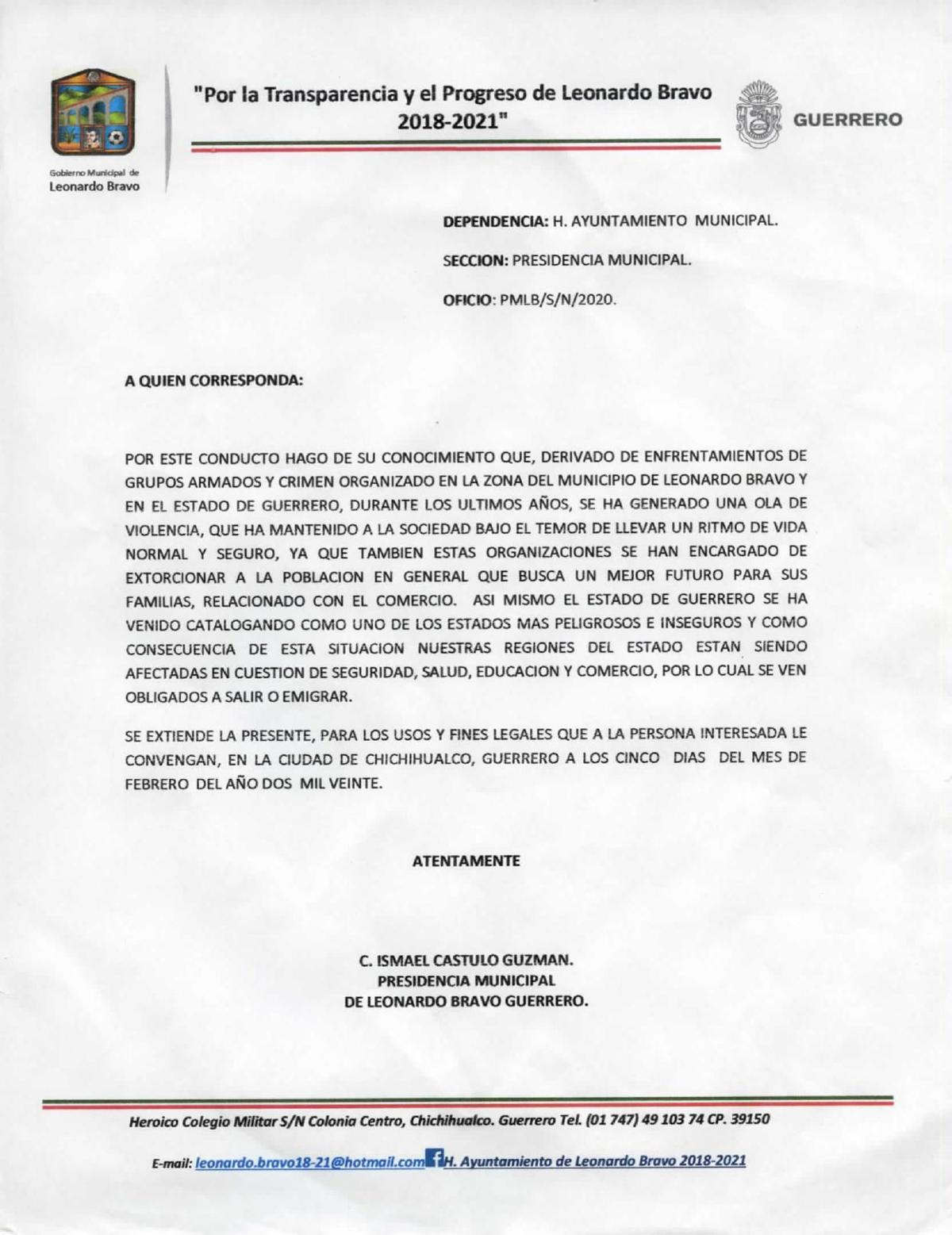 PDF: Letter to residents in Leonardo Bravo, Mexico