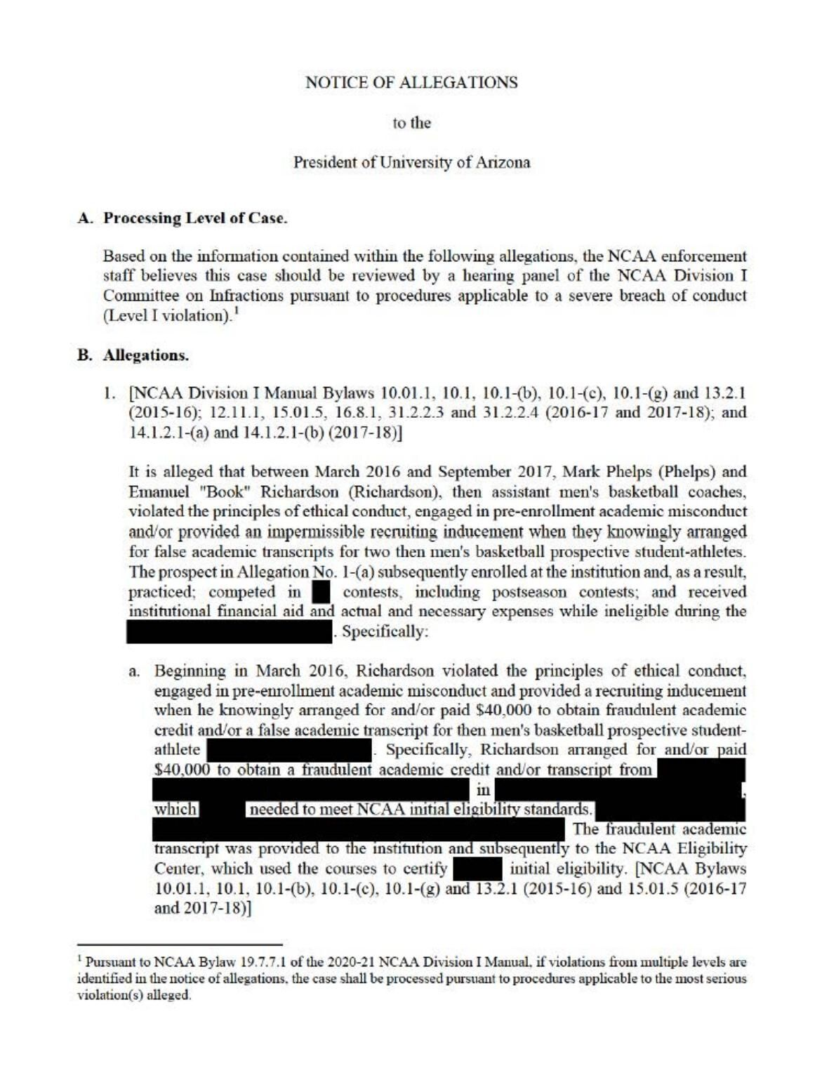 Read the NCAA's 22-page Notice of Allegations against Arizona