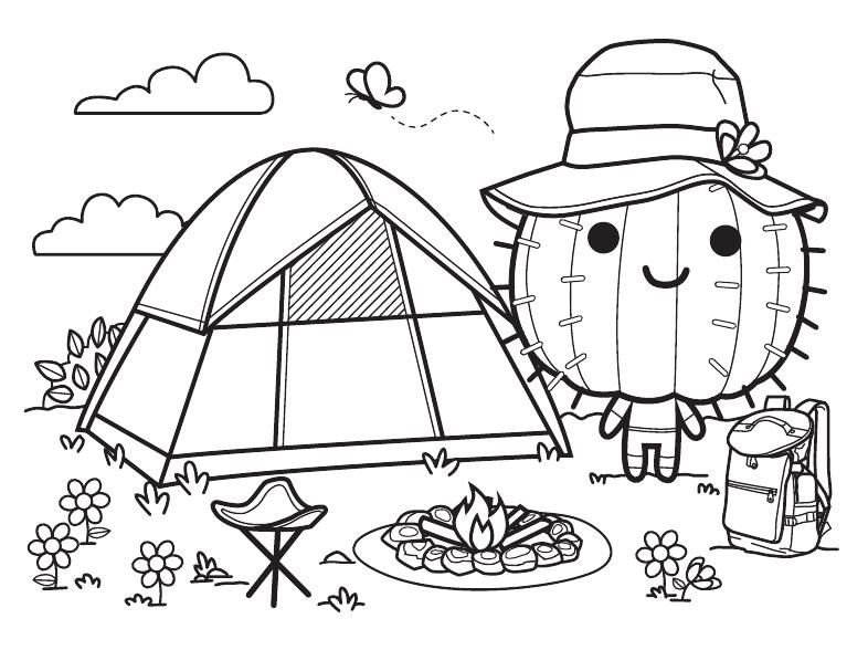 Camping Cactus Coloring Page