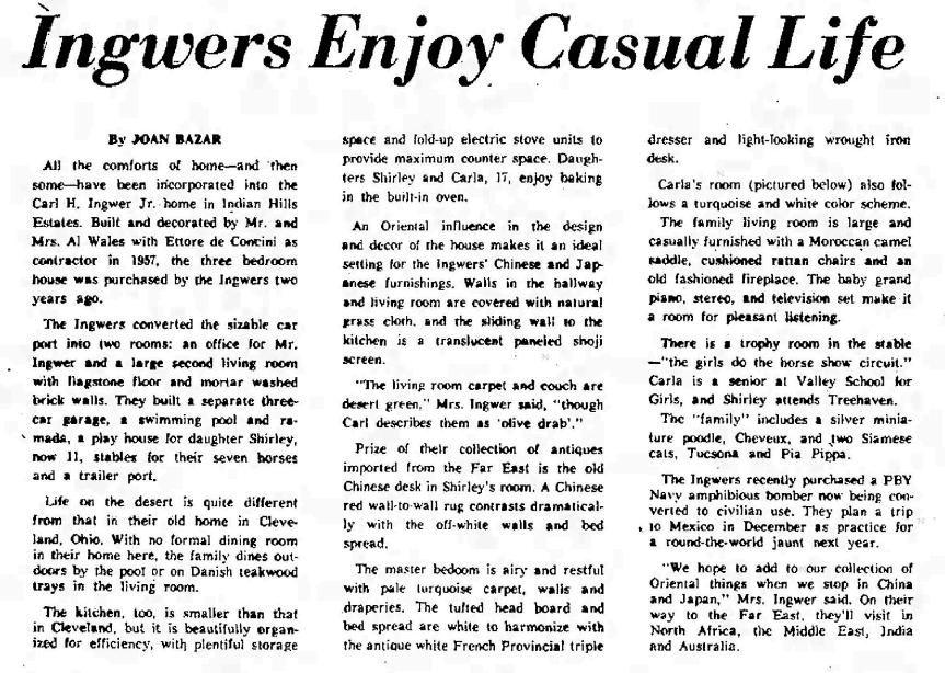 Tucson Citizen article Aug. 27, 1960