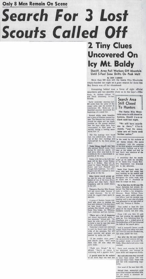 Search for 3 lost scouts called off (Nov. 24, 1958)