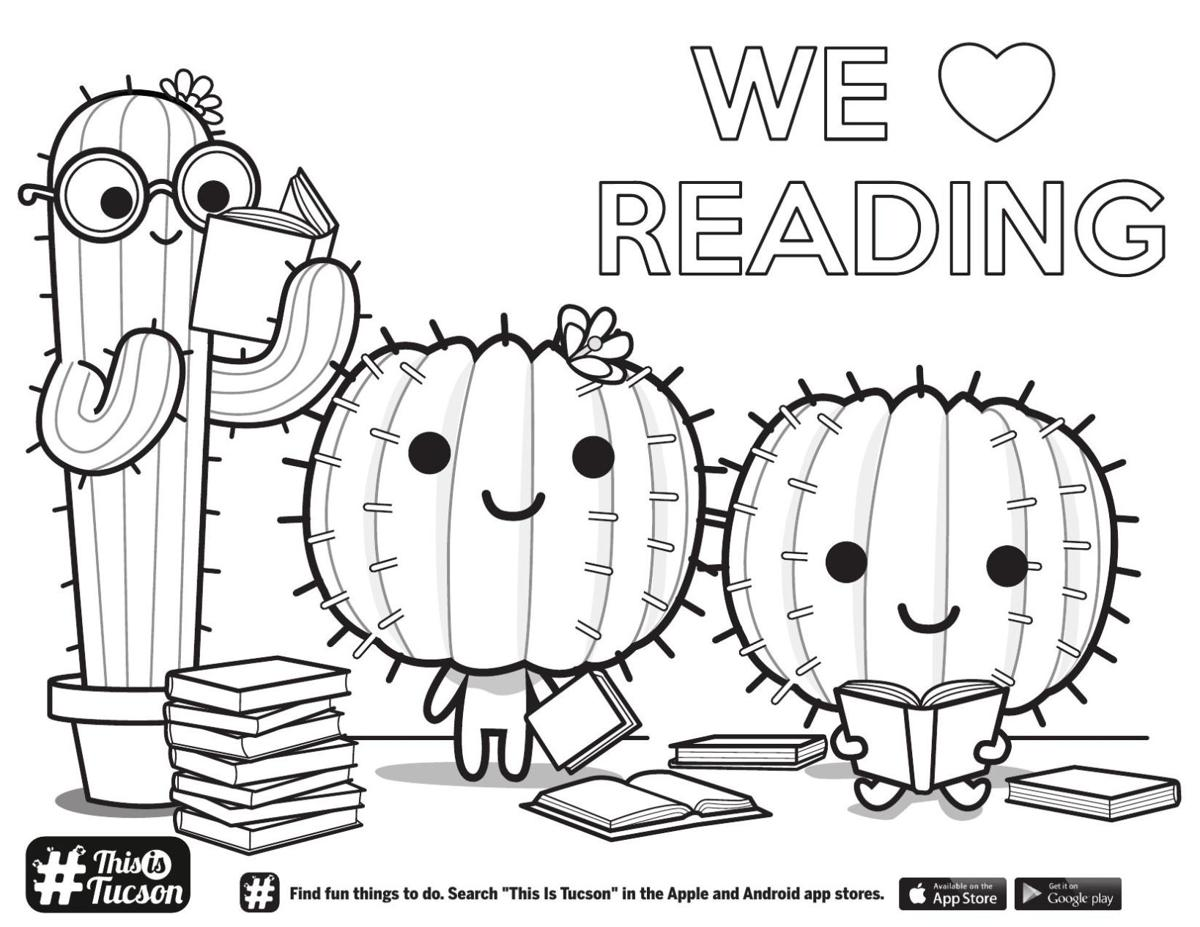 Reading cactus coloring page
