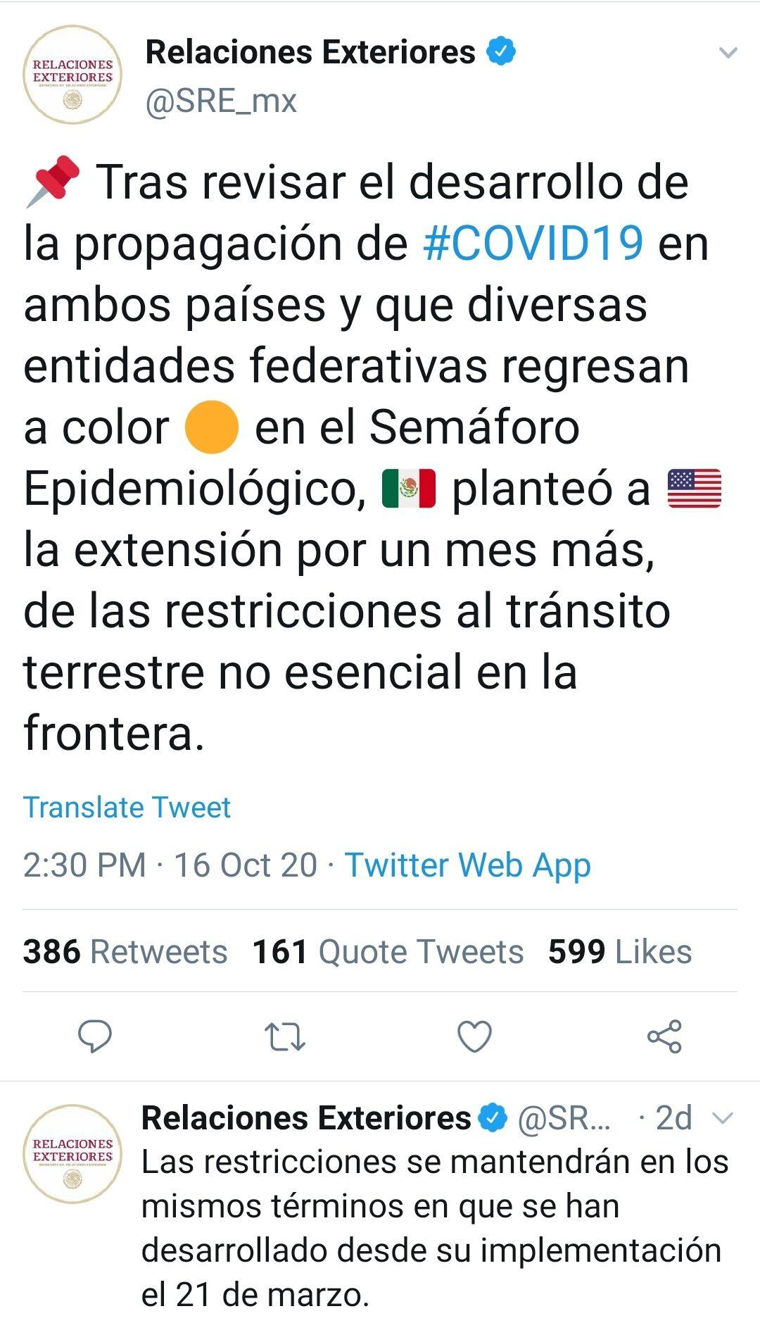 Tuit SRE: Cierre en la frontera