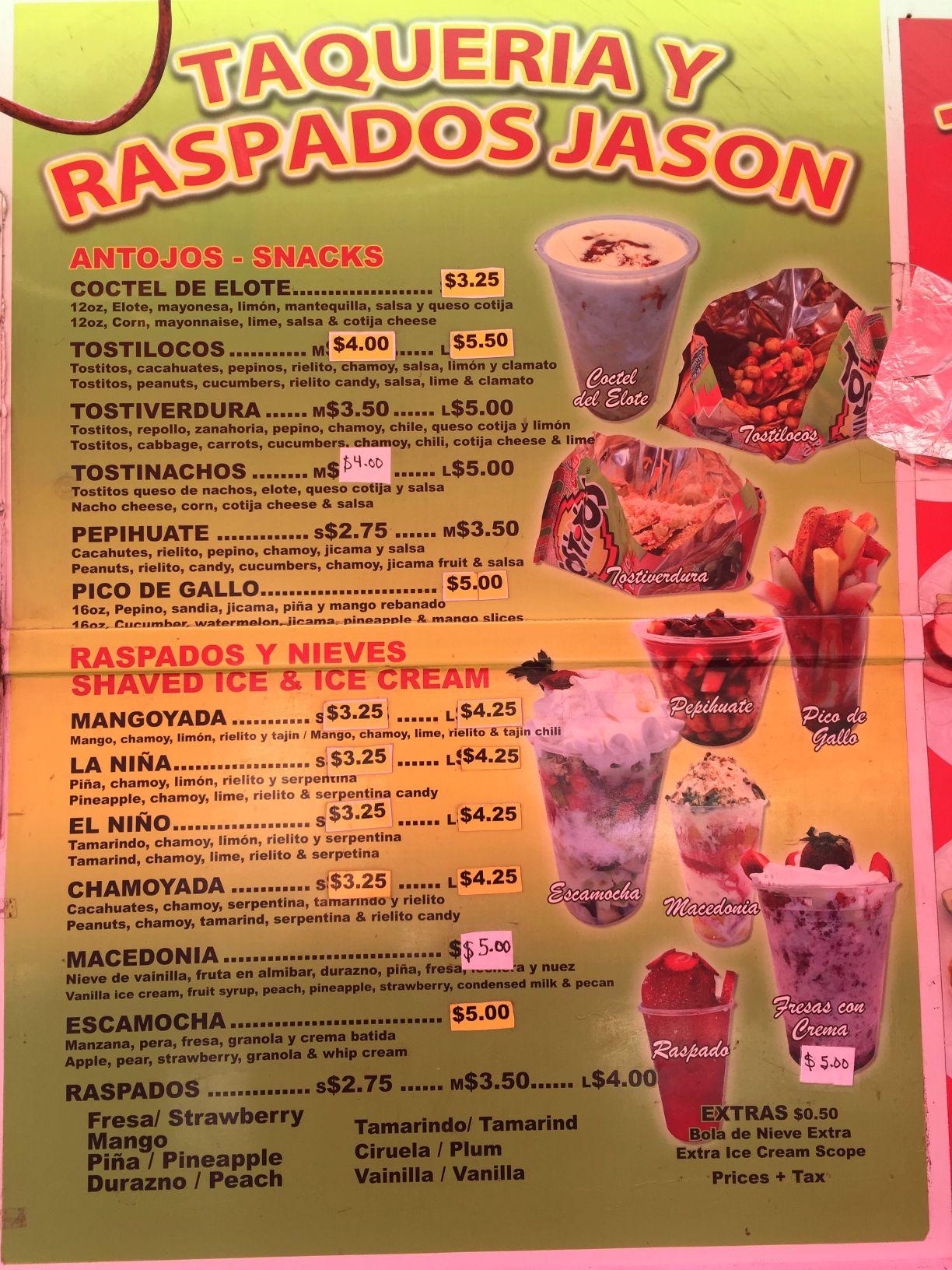 News 4 Tucson >> Taqueria y Raspados Jason menu | | tucson.com