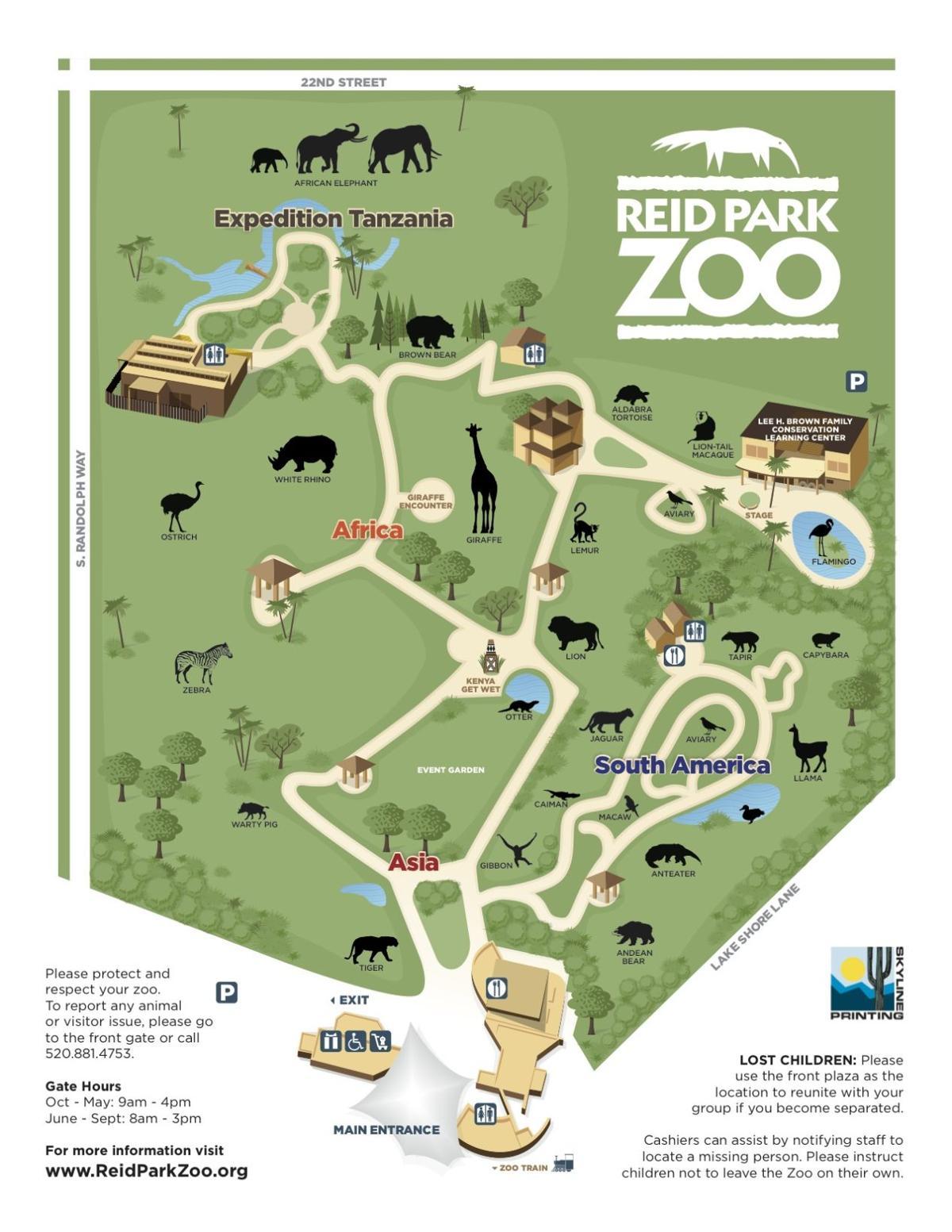 Reid Park Zoo map