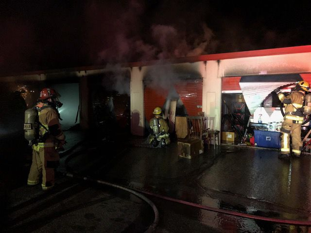 Firefighters saw through doors to extinguish storage unit ...