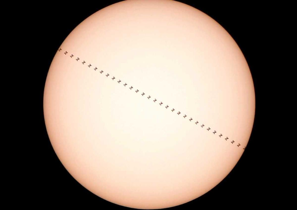 Space station transiting the sun