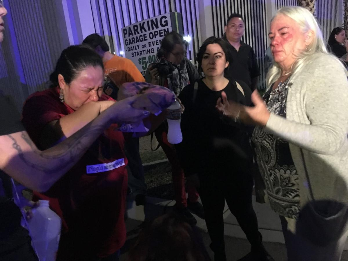 Protesters pepper-sprayed by police