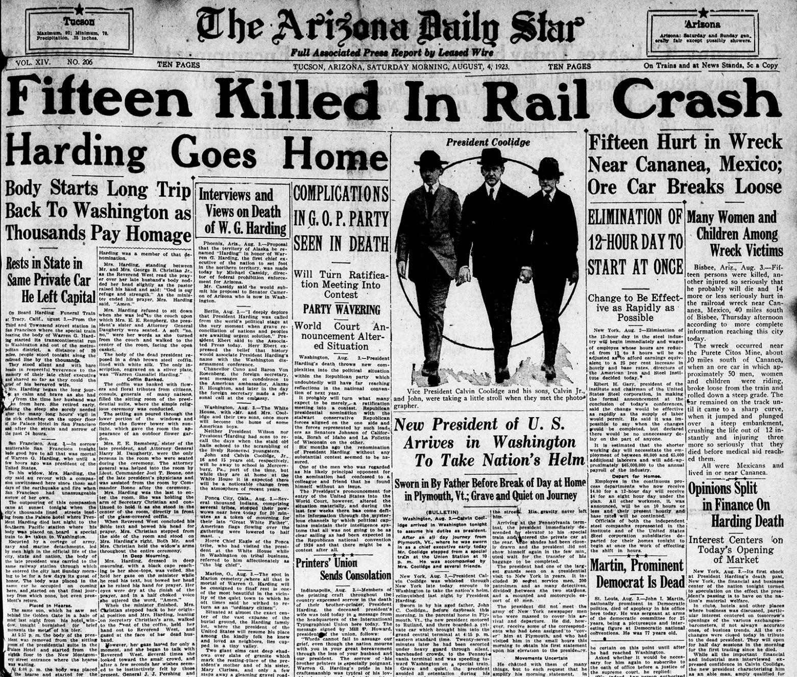 Arizona Daily Star front page Aug  4, 1923 | | tucson com
