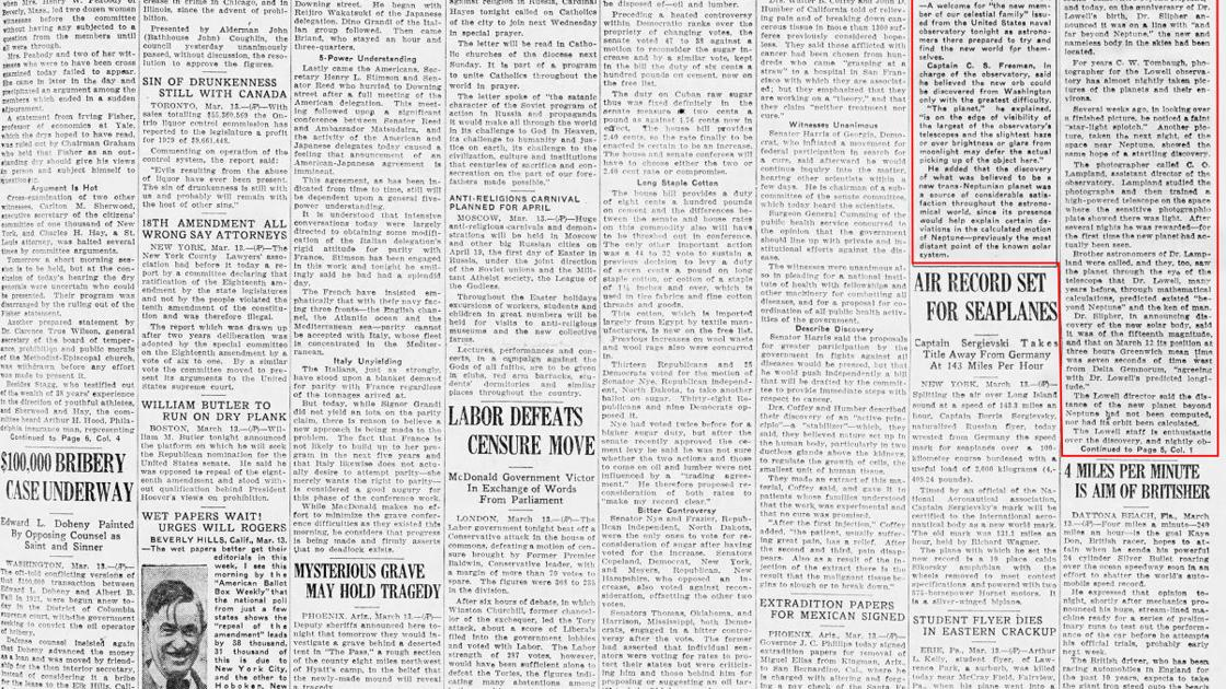 Friday, March 14, 1930, front page: Discovery of ninth