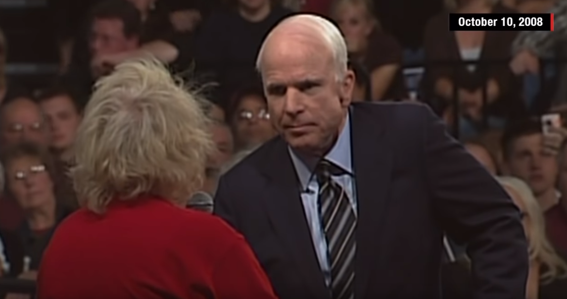 McCain's iconic 2008 campaign moment