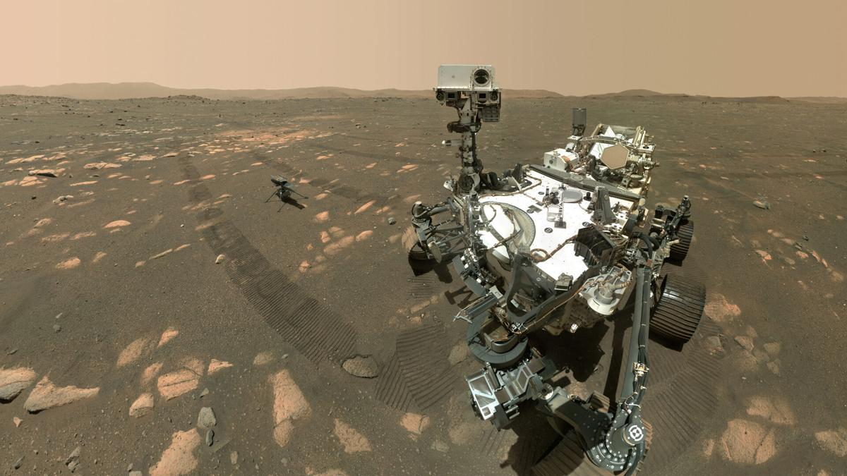 Space Mars Rover Helicopter