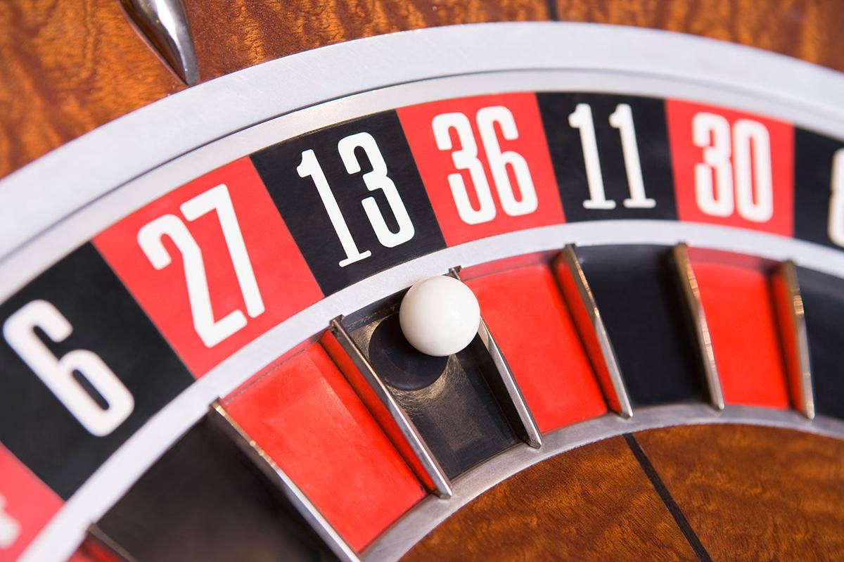 Close up of ball on roulette wheel